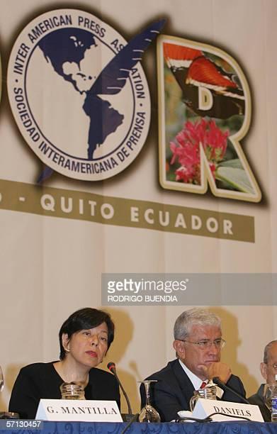 La presidenta de la Sociedad Interamericana de Prensa Diana Daniels habla durante la inauguracion de la Reunion de Medio Ano de la Sociedad...