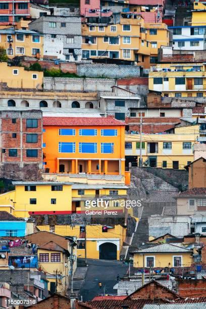 a quito hillside community - キト ストックフォトと画像