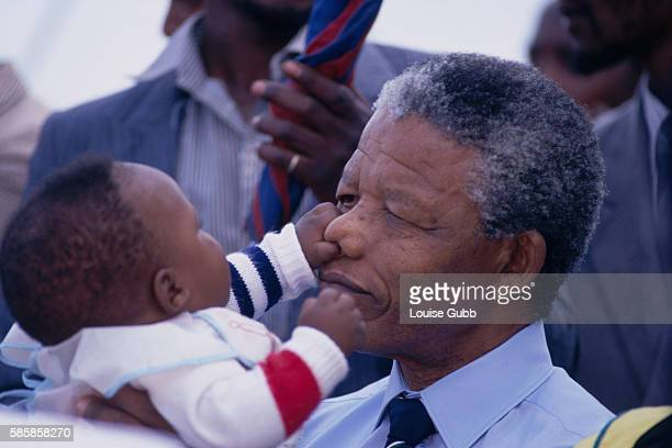 Nelson Mandela and grandson Bambatha at his ancestral home This was the first visit to his Transkej birthplace for three decades
