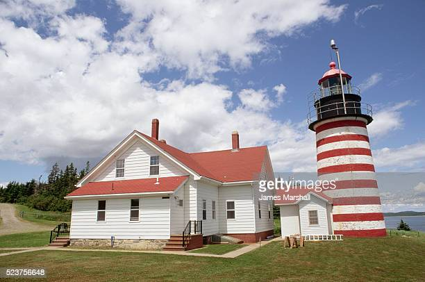 quoddy head lighthouse - lubec stock photos and pictures