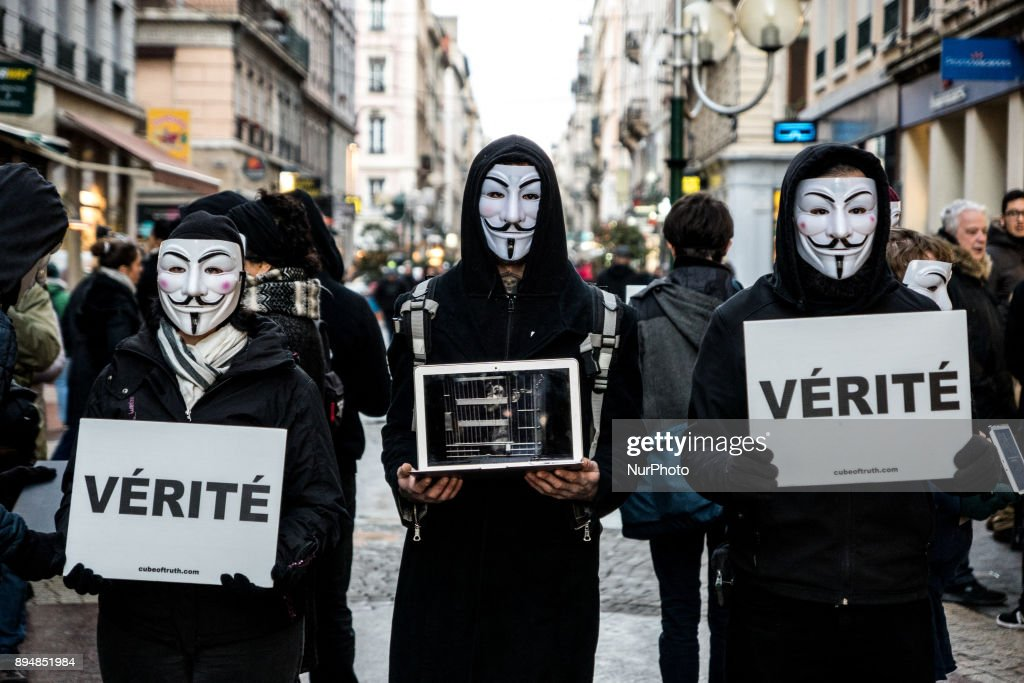 "A ""Cube of Truth"" organized by the association Anonymous For The Voiceless in Lyon"
