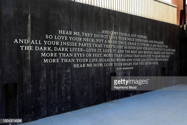 A quote by author Toni Morrison is displayed on a wall inside The National Memorial For Peace And Justice in Montgomery Alabama on July 6 2018