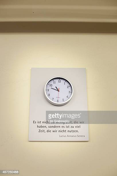 Quote by Seneca ' It is not that we have so little time but that we waste so much ' underneath a wall clock at the production site of SieMatic...