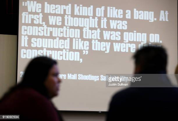 A quote from a person that was witness to an active shooter situation is displayed during an active shooter training for Oakland Unified School...