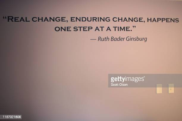 A quote from Supreme Court Justice Ruth Bader Ginsburg is painted on the wall in the waiting room at Whole Woman's Health of South Bend on June 19...