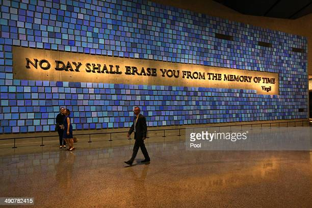 A quote from Virgil fills a wall of the museum prior to the dedication ceremony at the National September 11 Memorial Museum May 15 2014 in New York...