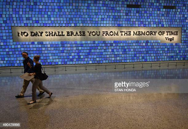 A quote from Virgil seen during a press preview of the National September 11 Memorial Museum at the World Trade Center site May 14 2014 in New York...