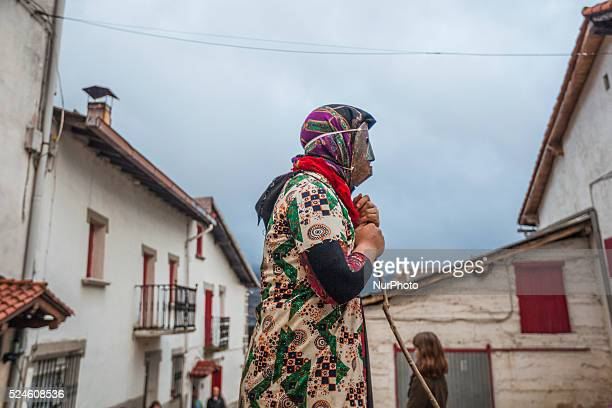 quotMamuxarroquot figure with iron mask and sticks during the ancestral carnival on February 15 2015 in the village of Unanu in Navarra province Spain