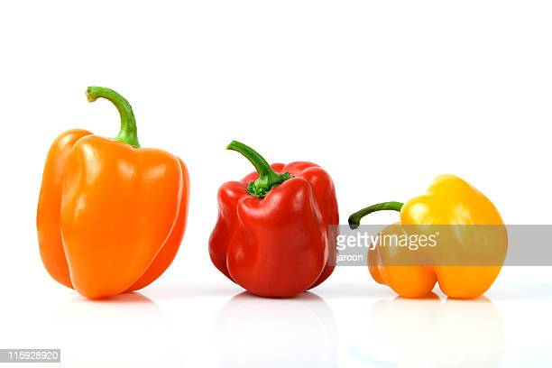 """""""mix"""" of color peppers on white"""