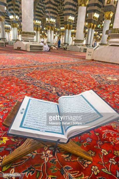 MEDINA-MAR 08 : A Quran inside of Masjid Nabawi March 08, 2015 in Medina, Saudi Arabia. Nabawi Mosqu