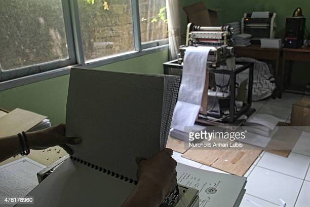 Quran printed in Braille at blind foundation on June 23 2015 in Tangerang Indonesia Braille Quran is the translation of Quran verses to Braille...