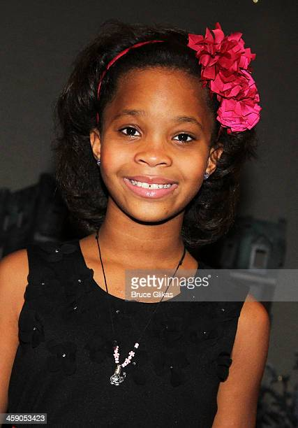 Quvenzhané Wallis poses backstage at Annie on Broadway at The Palace Theater on December 22 2013 in New York City