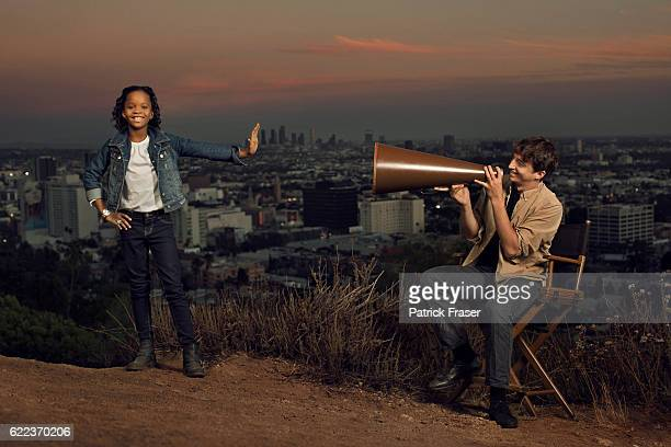 Quvenzhané Wallis with her director Benh Zeitlin from <Beasts of the Southern Wild>