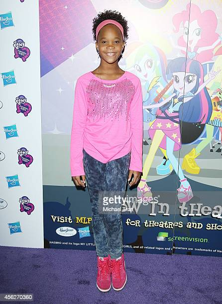 Quvenzhane Wallis arrives at the Los Angeles premiere of 'My Little Pony Equestria Girls Rainbow Rocks' held at TCL Chinese 6 Theatres on September...