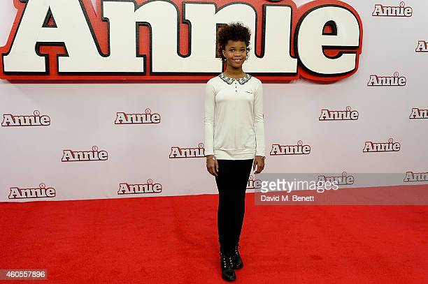 """Quvenzhane Wallis attends a photocall for """"Annie"""" at Corinthia Hotel London on December 16, 2014 in London, England."""