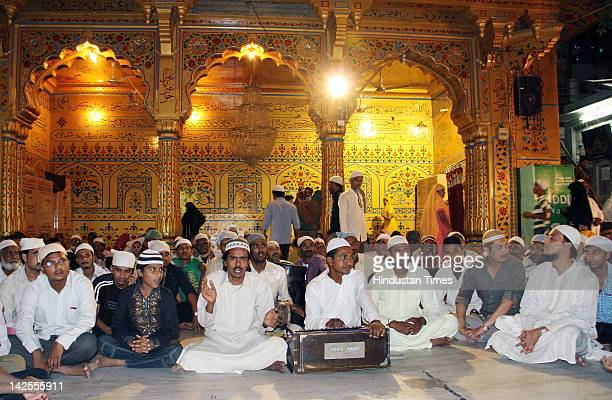 Qwaals sit inside Hazart Khawaja Moinuddin Hasan Chisty Dargah during preperations on the eve of Pakistani President A A Zardari's visit on April 7...