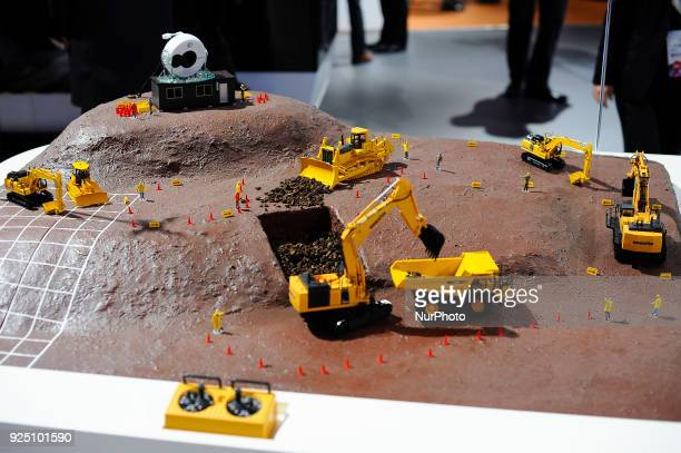 QWatch 5G NTT technology applied to the construct section to control the machines during the Mobile World Congress Day 2 on February 27 2018 in...