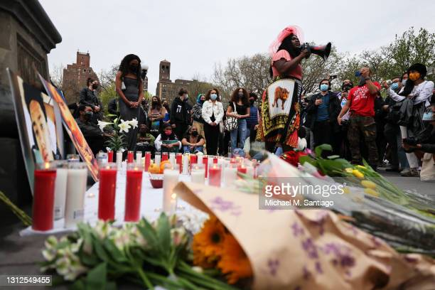 Qween Jean speaks during a vigil for Daunte Wright and Dominique Lucious at Washington Square Park in Manhattan on April 14, 2021 in New York City....