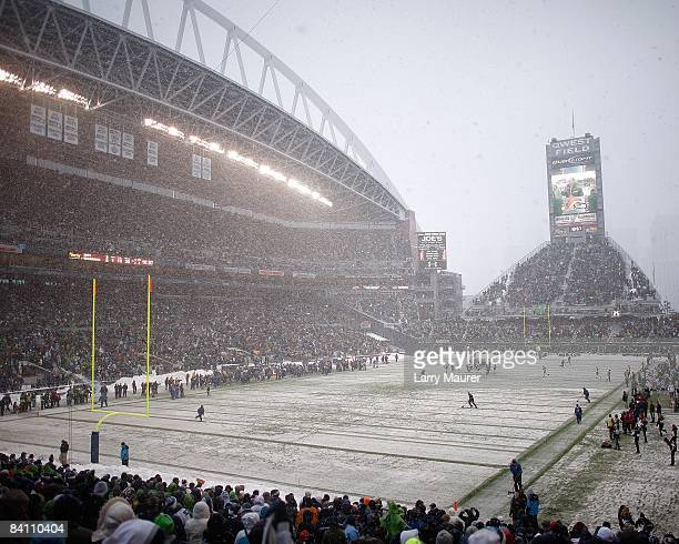 Qwest field in the snow during the game between the Seattle Seahawks and the New York Jets at Qwest Field in Seattle Washington