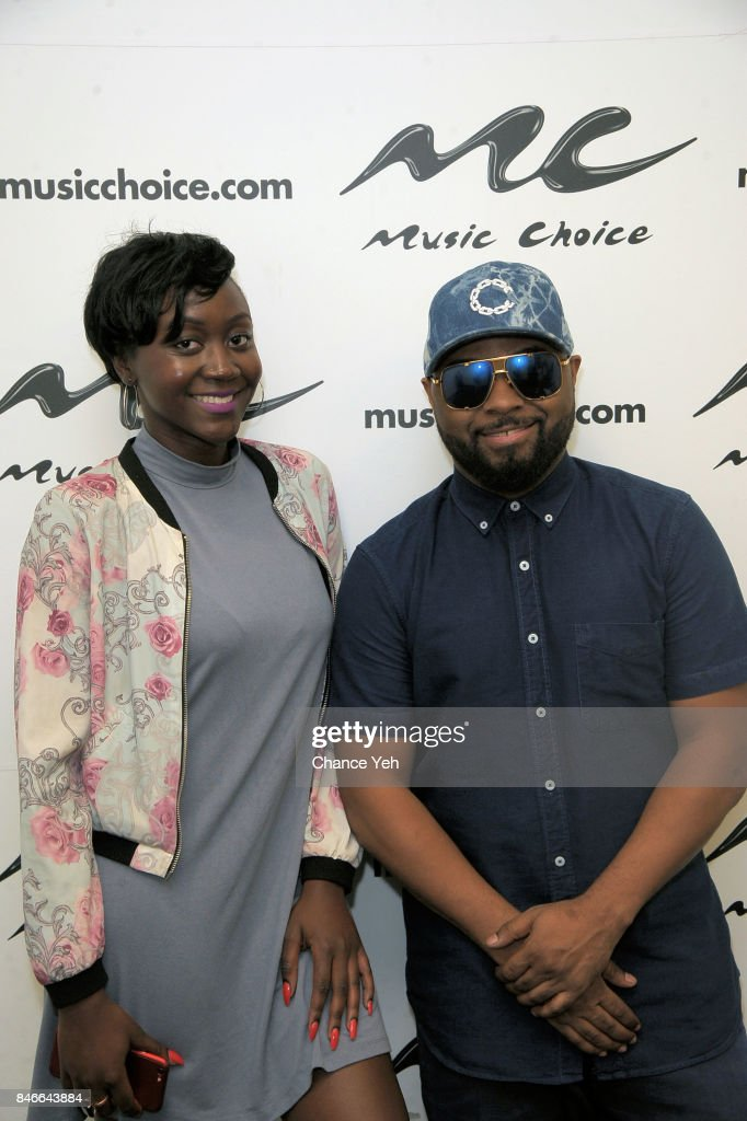 Qyana Agina (L) and Musiq Soulchild visits Music Choice on September 13, 2017 in New York City.
