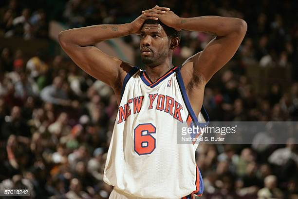 Qyntel Woods of the New York Knicks looks on against the Los Angeles Lakers at Madison Square Garden on January 31 2006 in New York New York The...