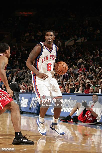Qyntel Woods of the New York Knicks moves the ball during a game against the Houston Rockets at Madison Square Garden on February 5 2006 in New York...