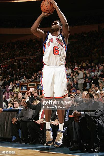 Qyntel Woods of the New York Knicks shoots a jump shot during a game against the Houston Rockets at Madison Square Garden on February 5 2006 in New...