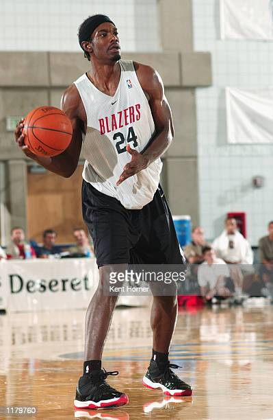 Qyntel Woods of the Portland Trail Blazers looks to pass during the Rocky Mountain Revue against the Memphis Grizzlies on July 21 2002 at the Salt...
