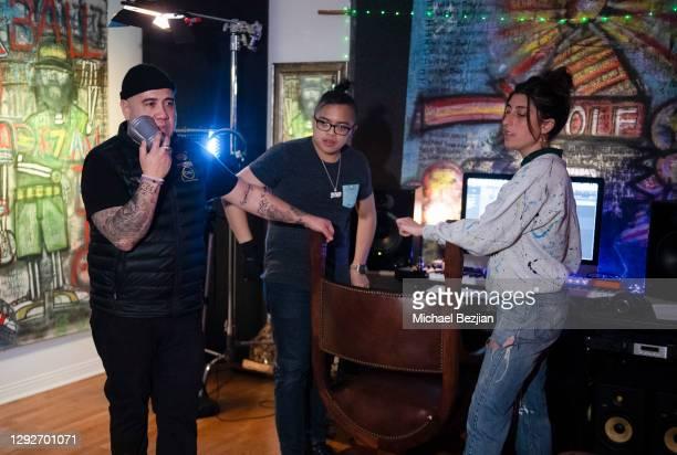 R1ck One, Thomas Ravago, and Marissa Barbalato at Conejo and Friends Visit TAP Studios on December 21, 2020 in Los Angeles, California.