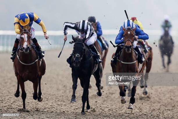 Rab Havlin riding West Palm Beach win The 32Red Casibn/British Stallion Studs EBF Filliesâ Novice Stakes at Lingfield racecourse on November 2 2017...