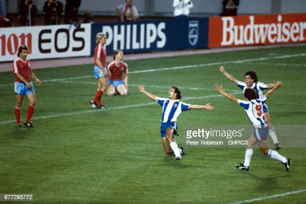 Rabah Madjer celebrates scoring Porto's first goal with Antonio Sousa and Paulo Futre