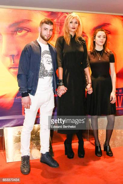 Rabah Naif Oufella Julia Ducournau and Garance Marillier attend the Grave Paris Premiere at UGC Cine Cite des Halles on March 14 2017 in Paris France