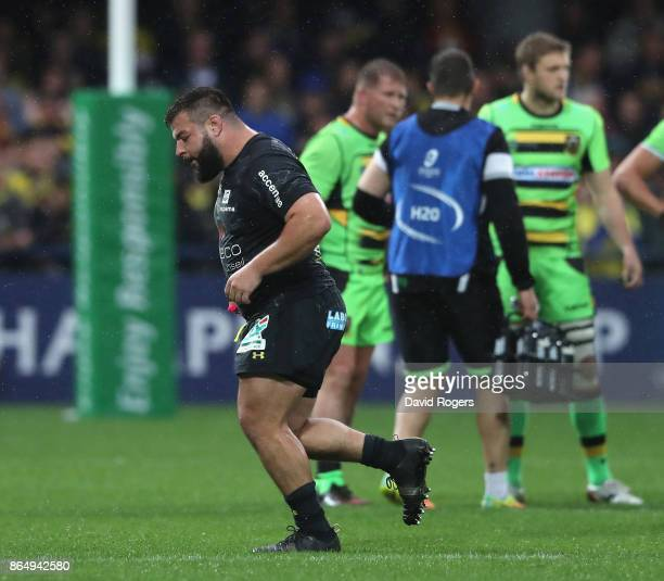 Rabah Slimani of Clermont Auvergne walks off the pitch after receiving a yellow card for a tackle on Dylan Hartley during the European Rugby...