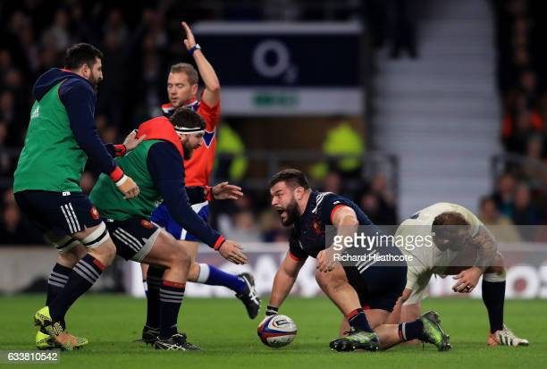 Rabah Slimani of France celebrates scoring France's first try with his team mates during the RBS Six Nations match between England and France at...