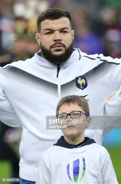 Rabah Slimani of France during the NatWest 6 Nations match between France and Ireland at Stade de France on February 3 2018 in SaintDenis near Paris...