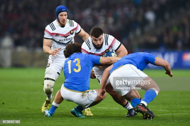 Rabah Slimani of France during the NatWest Six Nations match between France and Italy at Stade Velodrome on February 23 2018 in Marseille France