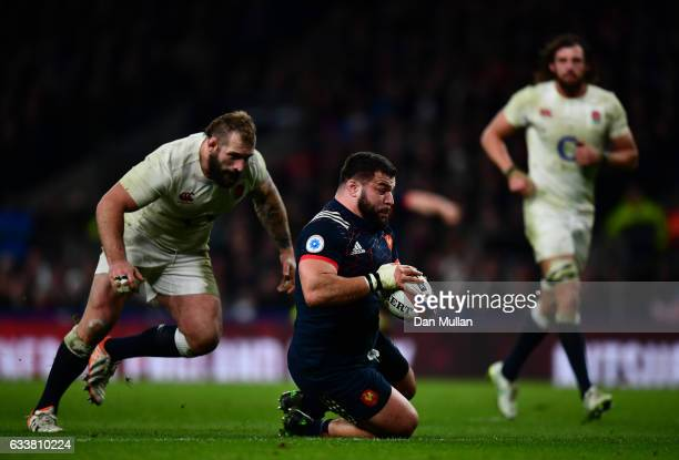 Rabah Slimani of France ground the ball to score France's first try during the RBS Six Nations match between England and France at Twickenham Stadium...