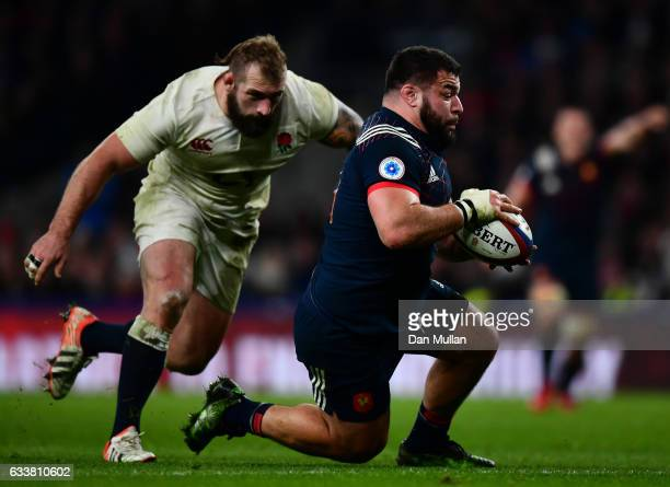Rabah Slimani of France grounds the ball to score France's first try during the RBS Six Nations match between England and France at Twickenham...