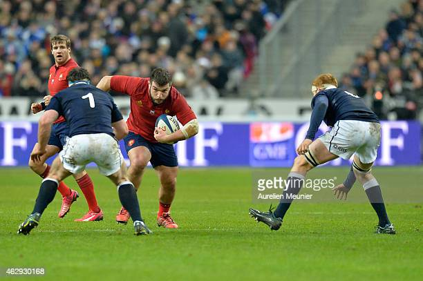 Rabah Slimani of France in action during the RBS Six Nations match between France and Scotland at Stade de France on February 7 2015 in Paris France