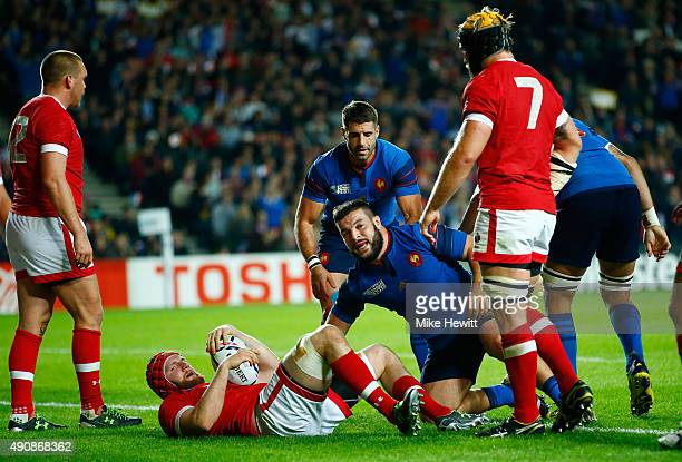 Rabah Slimani of France looks on as he scores their third try during the 2015 Rugby World Cup Pool D match between France and Canada at Stadium mk on...