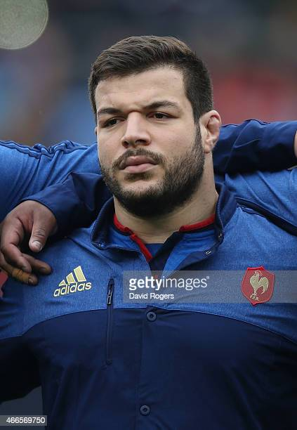 Rabah Slimani of France looks on during the Six Nations match between Italy and France at the Stadio Olimpico on March 15 2015 in Rome Italy