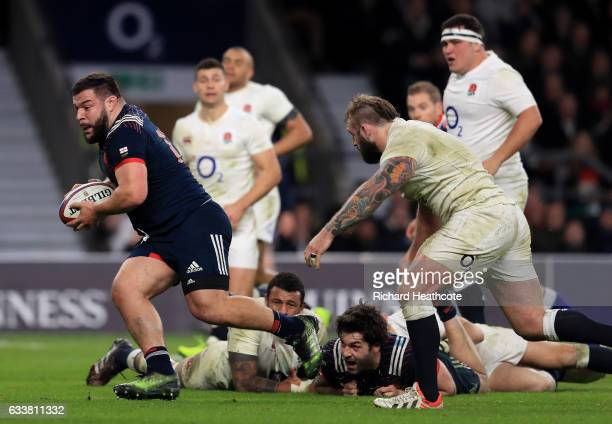 Rabah Slimani of France makes a break to score his side's first try during the RBS Six Nations match between England and France at Twickenham Stadium...