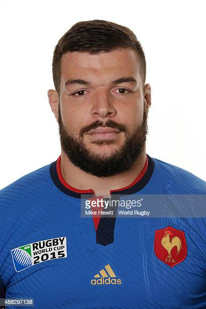 Rabah Slimani of France poses during the France Rugby World Cup 2015 squad photo call at the Selsdon Park Hotel on September 15 2015 in Croydon...