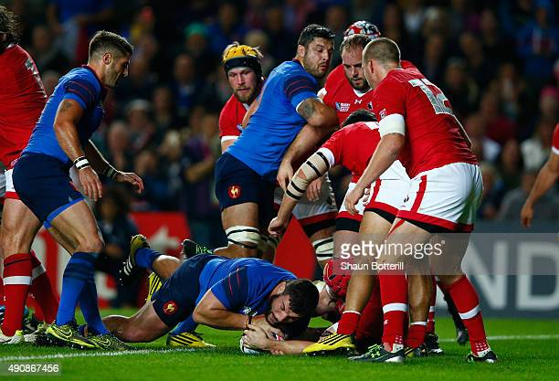 Rabah Slimani of France scores their third try during the 2015 Rugby World Cup Pool D match between France and Canada at Stadium mk on October 1,...