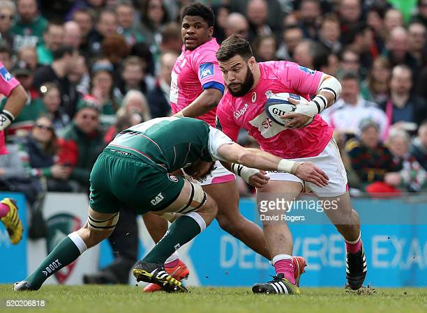 Rabah Slimani of Stade Francais is tackled during the European Rugby Champions Cup quarter final match between Leicester Tigers and Stade Francais at...