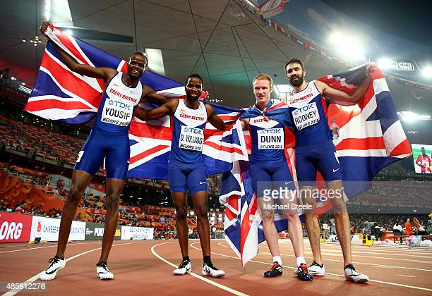 Rabah Yousif of Great Britain Delanno Williams of Great Britain Jarryd Dunn of Great Britain and Martyn Rooney of Great Britain celebrate after...