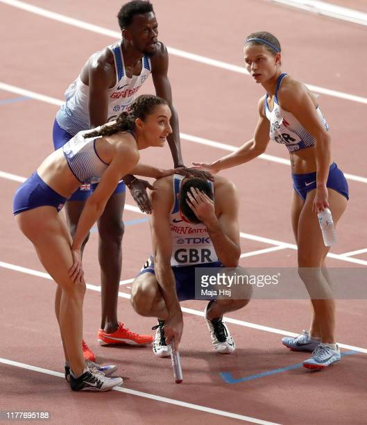 Rabah Yousif Zoey Clark Emily Diamond and Martyn Rooney of Great Britain react after competing in the 4x400 Metres Relay Mixed heats in during day...