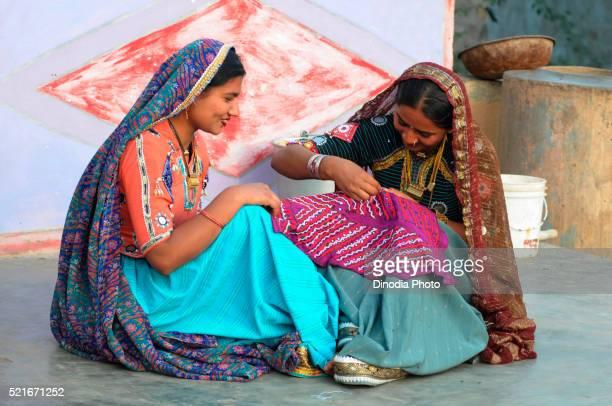 Rabari girls sewing, Bhuj, Kutch, Gujarat, India