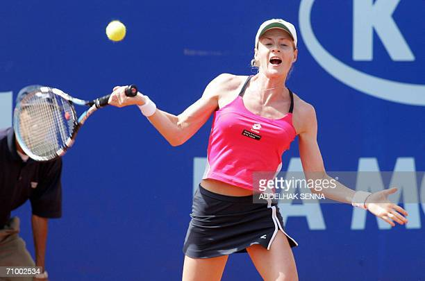 Martina Sucha of Slovakia returns a ball to Meghan Shaughnessy 21 May 2006 in the 145000 dollar clay court WTA Rabat Open in Rabat Shaughnessy beat...