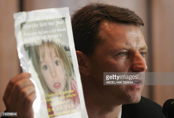 The father of Madeleine McCann Gerry the fouryearold British girl who vanished in Portugal more than a month ago give a press conference to show a...